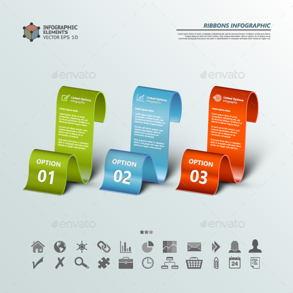 GraphicRiver Three Ribbons Infographic Backgrounds 10667630