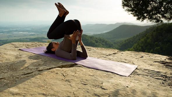 Yoga Teacher Amazing Sunset Mountain Clifftop 2