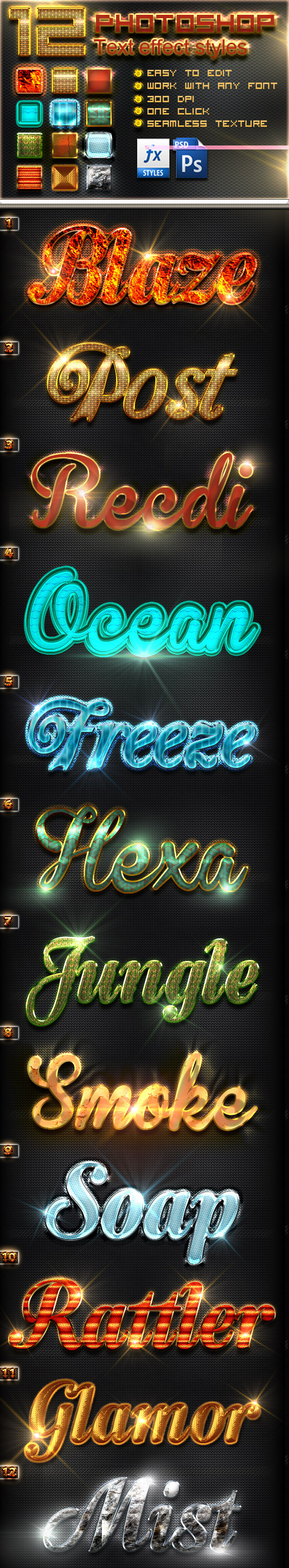 GraphicRiver 12 Photoshop Text Effect Styles Vol 4 10668577