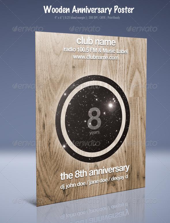 GraphicRiver Wooden Anniversary Retro Poster 133511