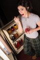 Woman Insomniac Eating Canned Strawberries Refrigerator Door Open - PhotoDune Item for Sale