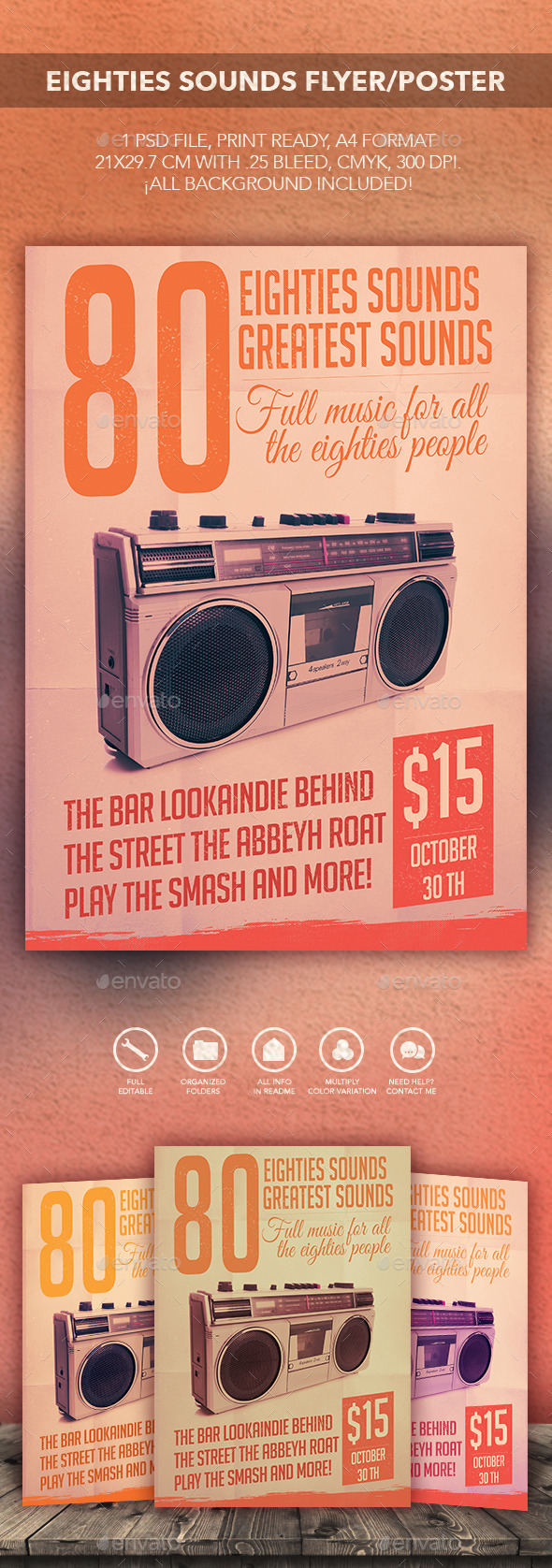 GraphicRiver Eighties Sounds Flyer Poster 10669021
