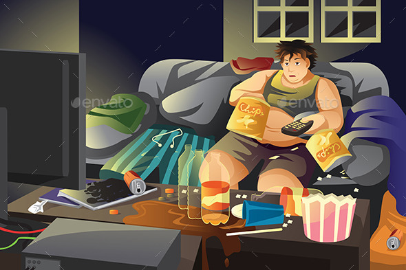 GraphicRiver Lazy Man Eating Potato Chips and Watching TV 10669878