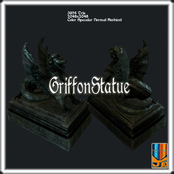 Griffon statue - 3DOcean Item for Sale