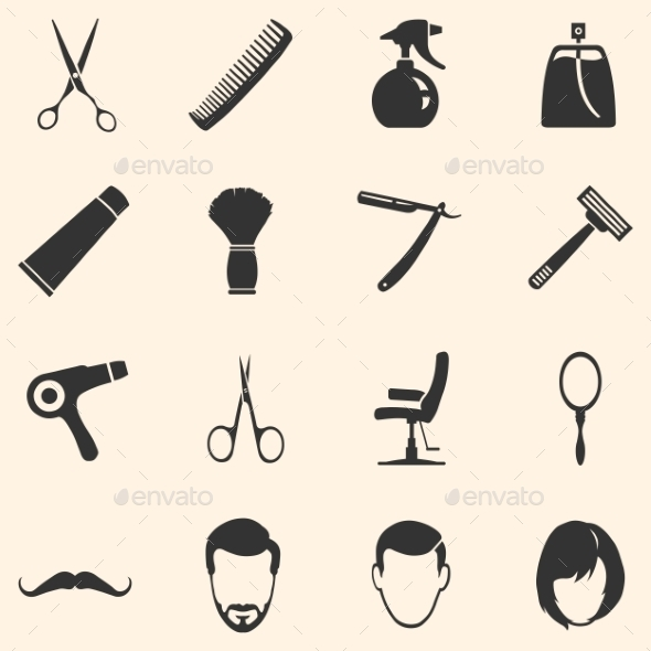 GraphicRiver Vector Set of Barber Shop Icons 10669906
