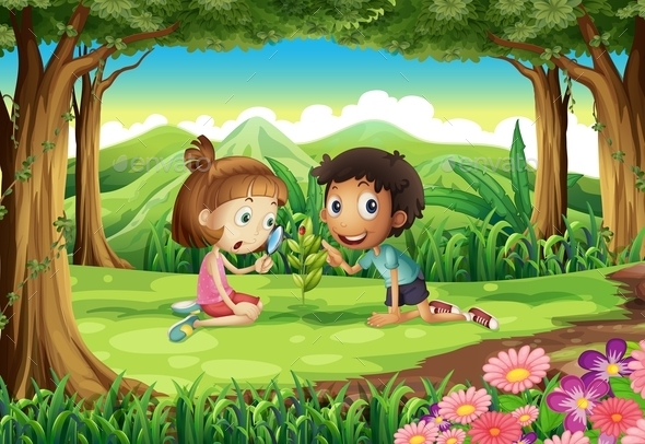 GraphicRiver Forest with Two Kids Studying Plant Growth 10670011
