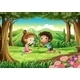 Forest with Two Kids Studying Plant Growth - GraphicRiver Item for Sale