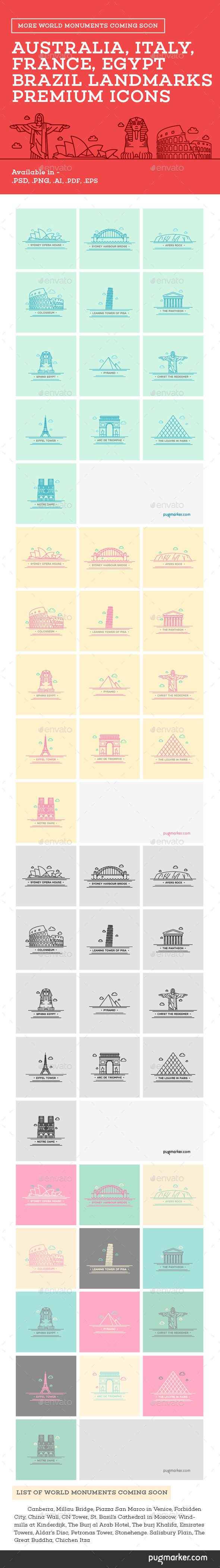 GraphicRiver World Landmarks Premium Icons 10655596