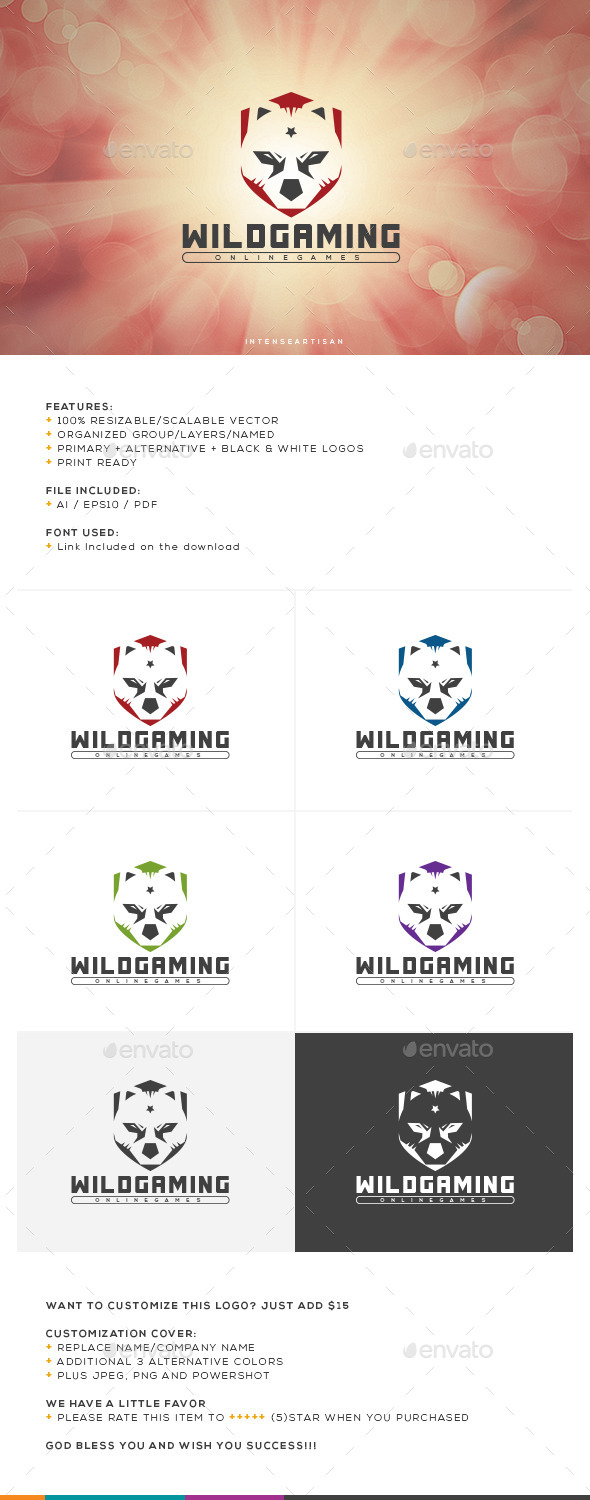 GraphicRiver Wild Gaming Logo Template 10670737