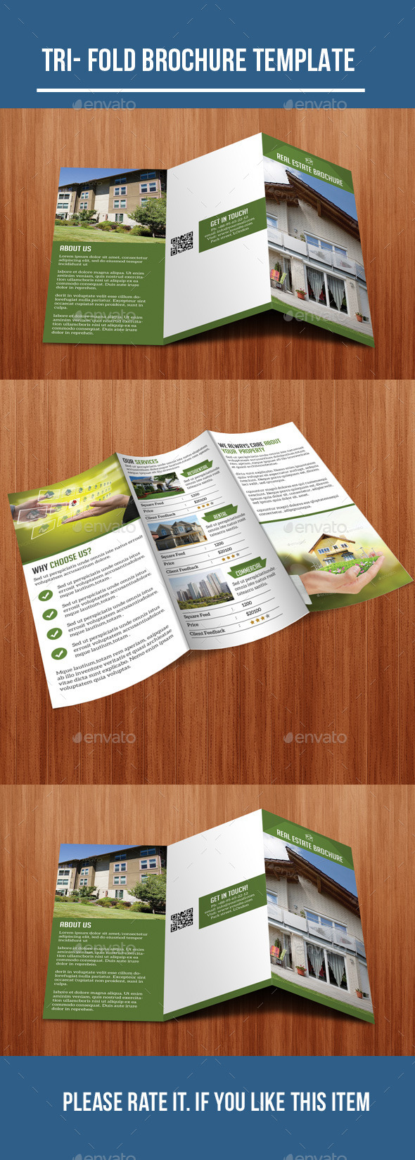 GraphicRiver Square Tri-Fold Real Estate Brochure 10670923