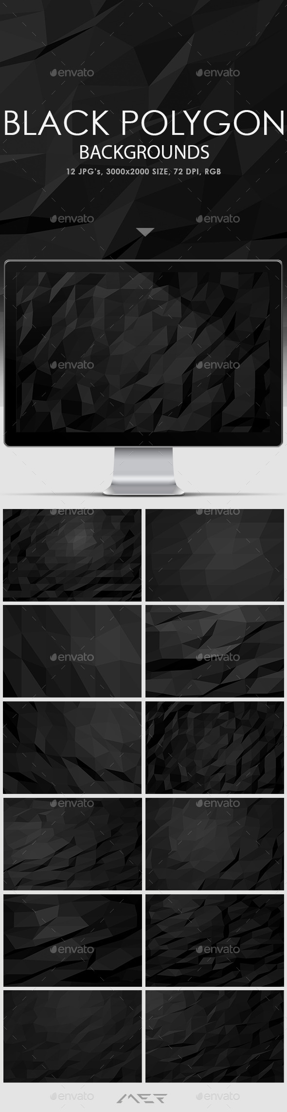 GraphicRiver Black Polygon Backgrounds 10671205