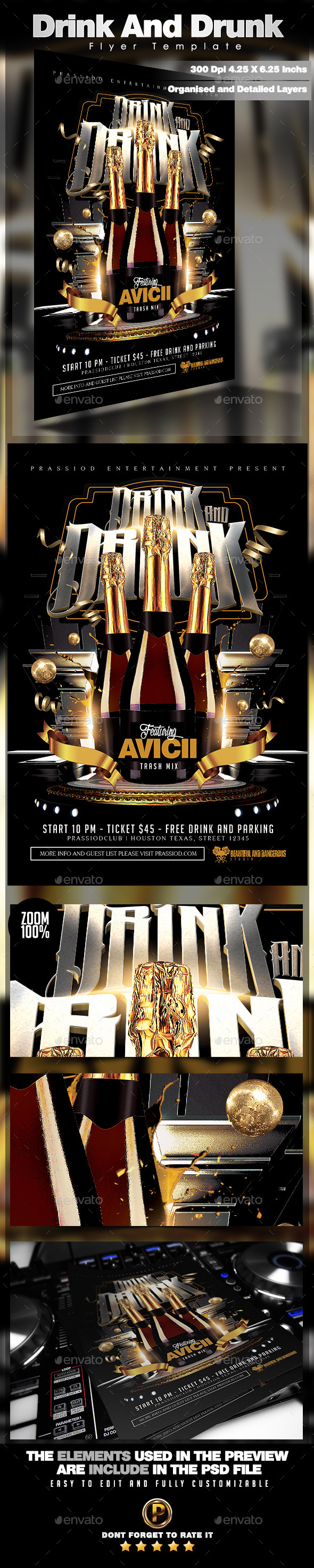 GraphicRiver Drink And Drunk Flyer Template 10598353
