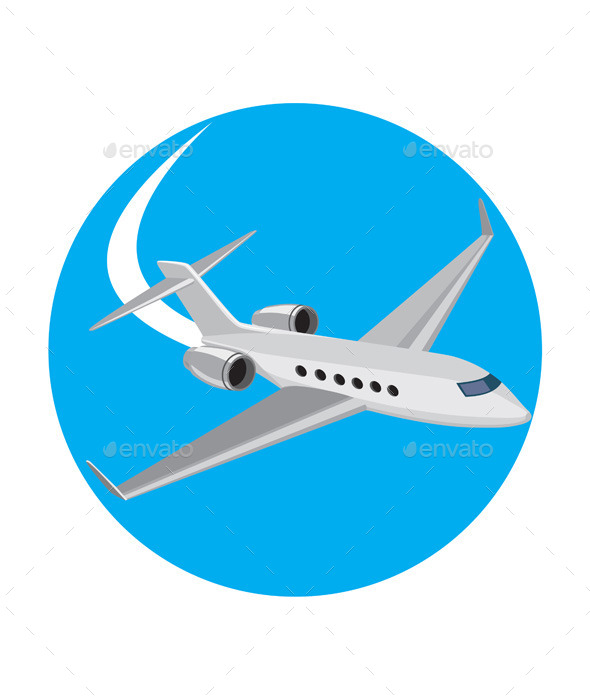 GraphicRiver Commercial Light Passenger Airplane Circle 10671241