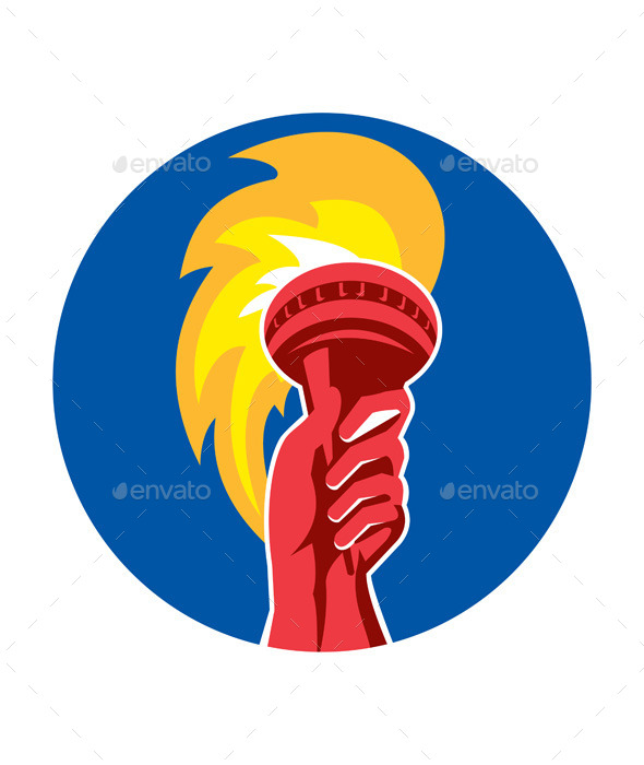 GraphicRiver Hand Holding Burning Flaming Torch Circle Retro 10671255