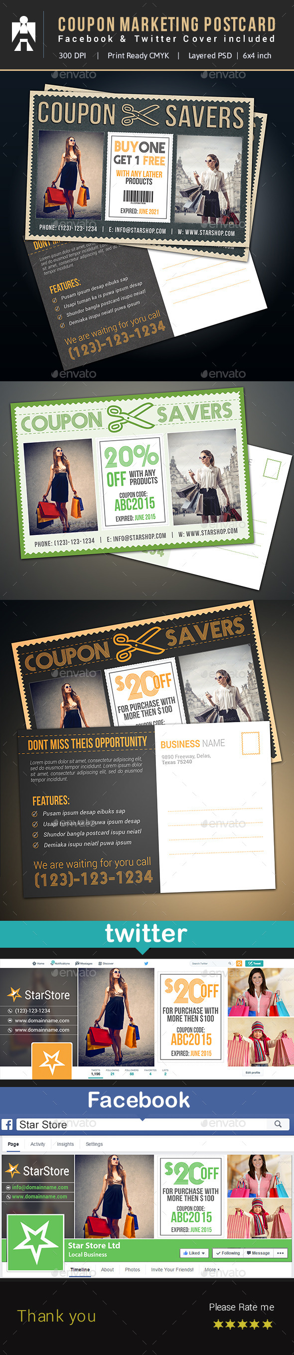 GraphicRiver Coupon Postcard Facebook & Twitter 10598599