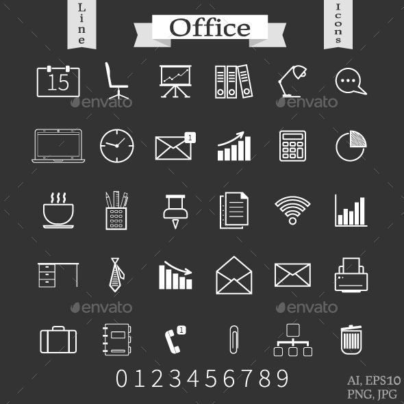 GraphicRiver Office and Business Line Icons 10671415