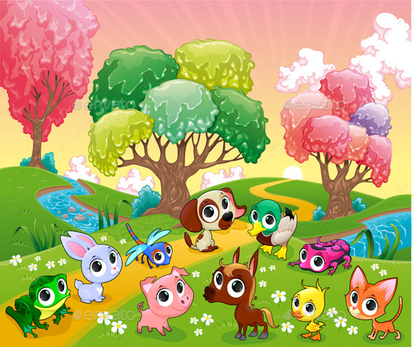 GraphicRiver Animals in the Magic Woods 10671443
