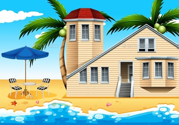 GraphicRiver Vacation House at the Beach 10671476