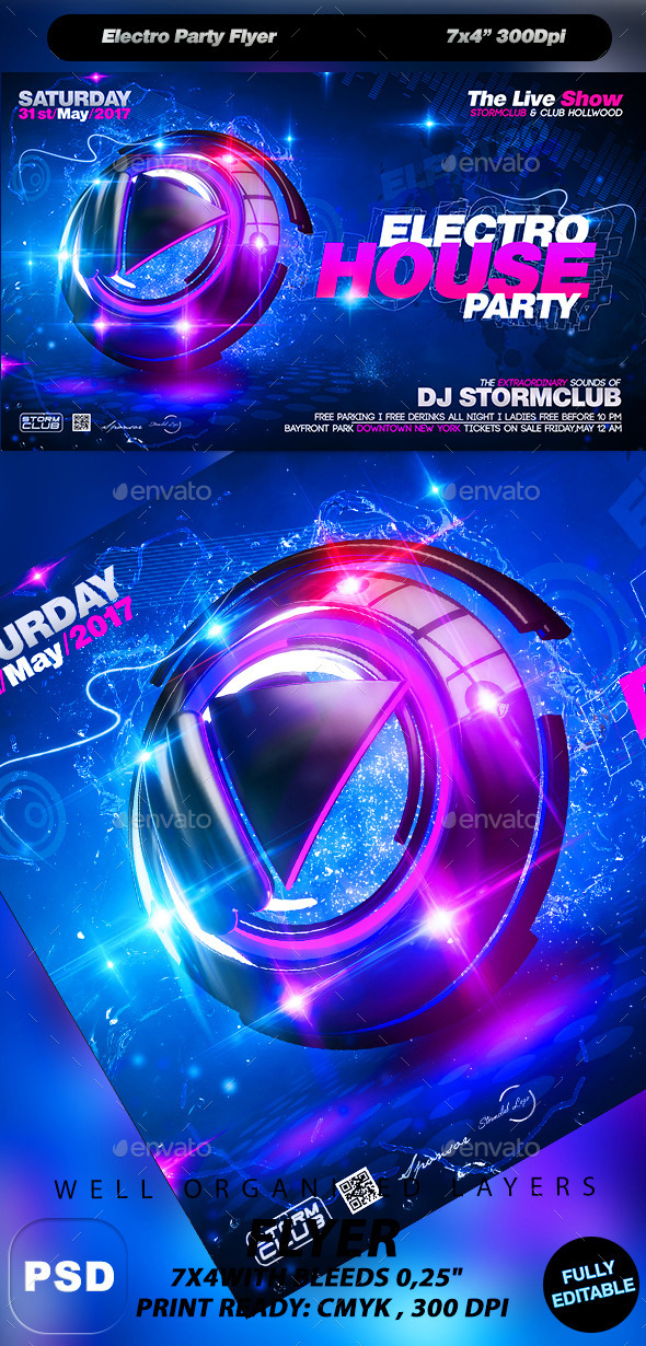 GraphicRiver Electro Party Flyer 10671652