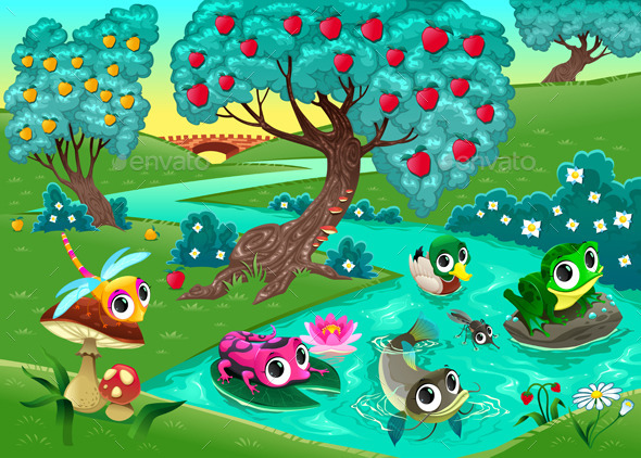 GraphicRiver Animals on a River in the Woods 10672028