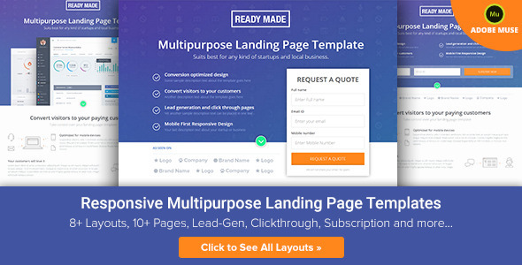 ThemeForest ReadyMade Muse Multiuse Landing Page Template 10672032