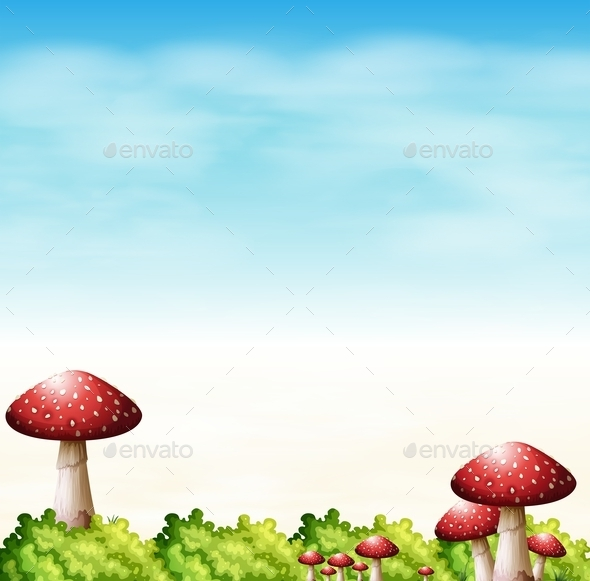 GraphicRiver Garden with Red Mushrooms 10672097