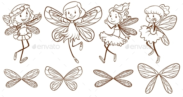 GraphicRiver Sketch of Simple Fairies 10672136