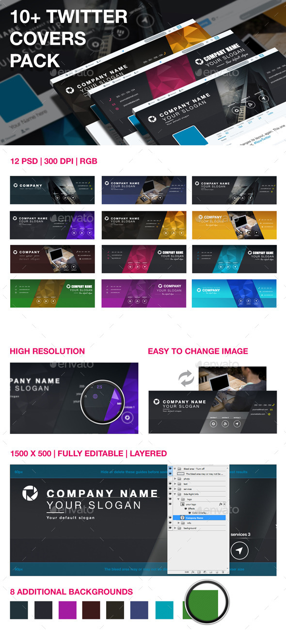 GraphicRiver 10& Twitter Covers Pack 10339209