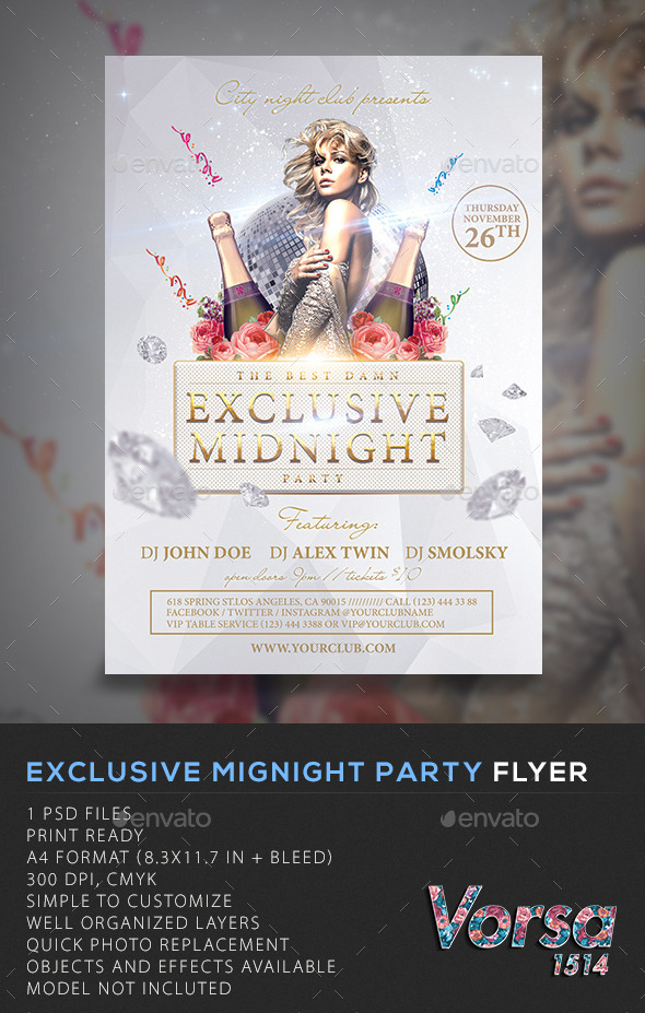 GraphicRiver Exclusive Mignight Party Flyer 10672336