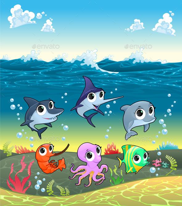 GraphicRiver Marine Aanimals on the Ocean Floor 10672589