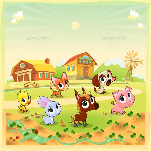 GraphicRiver Farm Animals in the Garden 10672865