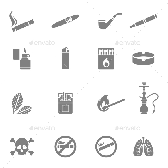 GraphicRiver Smoking Silhouette Icons Set 10672949