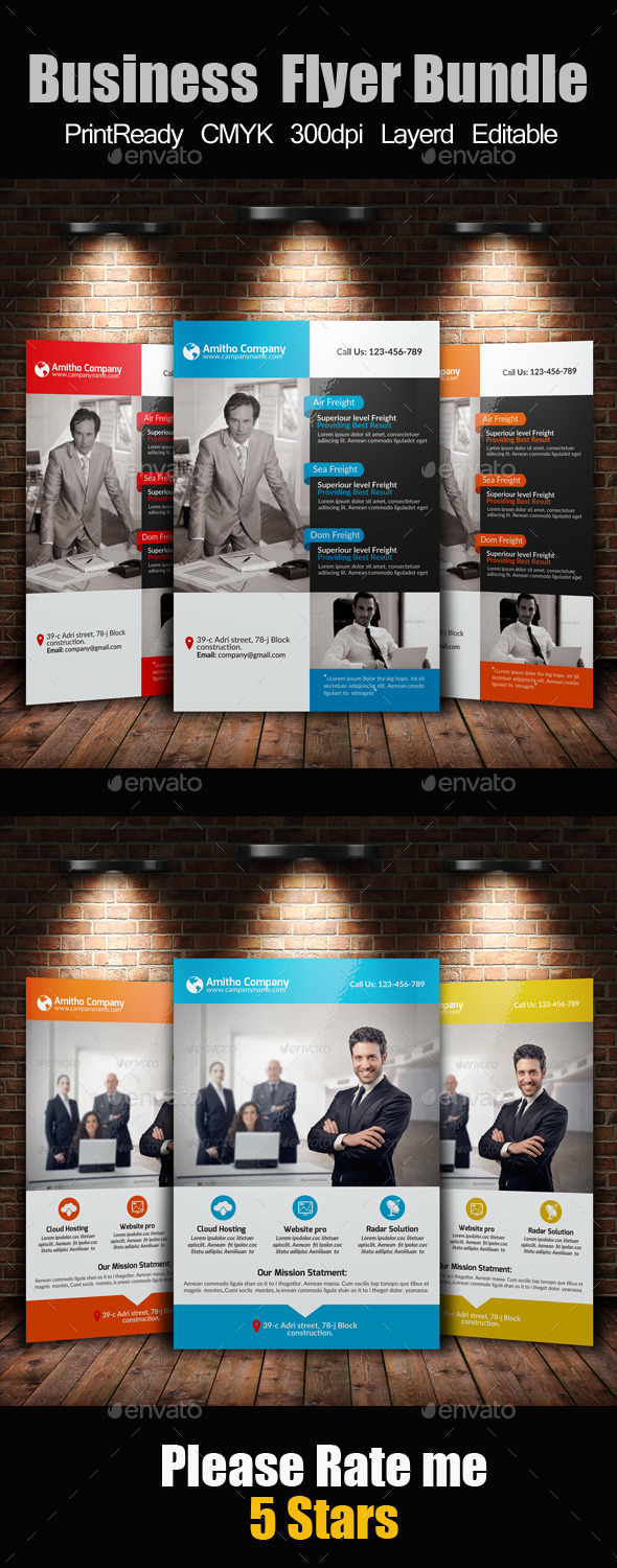 GraphicRiver A4 Business Flyer Template Bundle 10672964