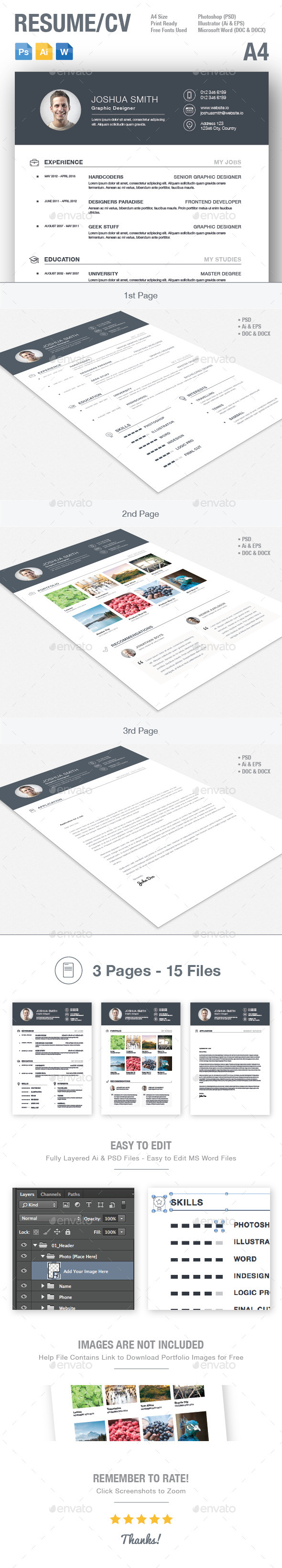 GraphicRiver 3-Piece Resume CV 10673056