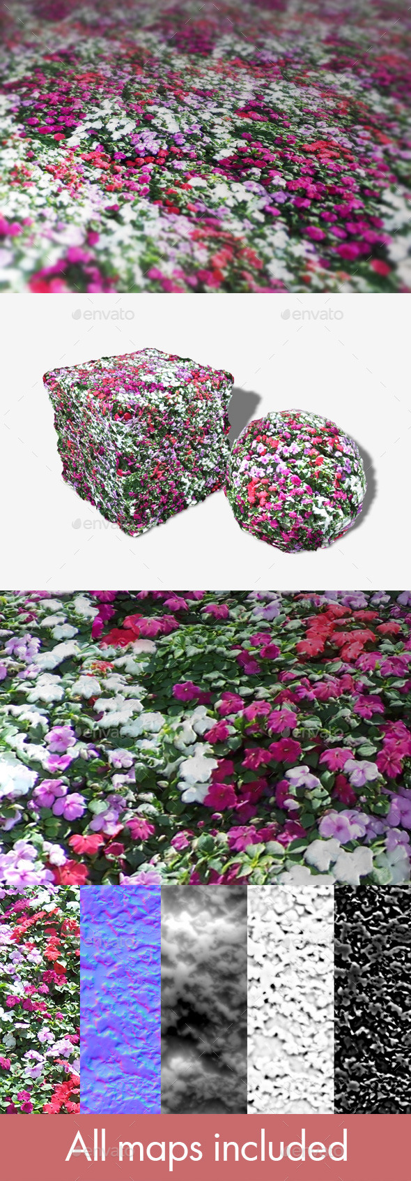Flowerbed Seamless Texture - 3DOcean Item for Sale