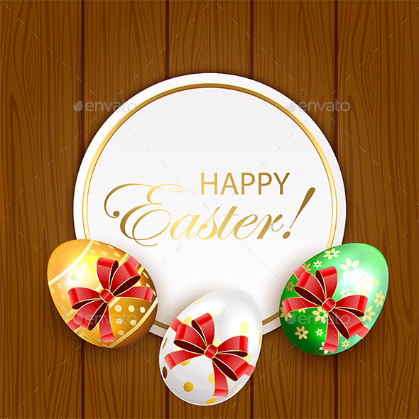 GraphicRiver Easter Eggs with Bow on Wooden Background 10673502
