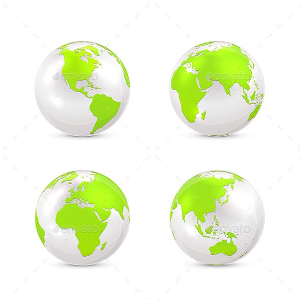 GraphicRiver White Earth Globe 10673560