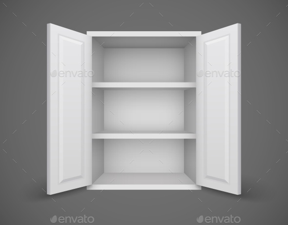 GraphicRiver Empty Box with Open Doors and Bookshelves 10673831