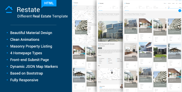 ThemeForest Restate Different Material Real Estate Template 10675133