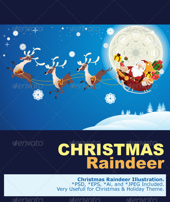 Reindeer And Santa Claus Christmas - Christmas Seasons/Holidays
