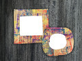 Two blank colorful painted cardboard frames on grunge background - PhotoDune Item for Sale