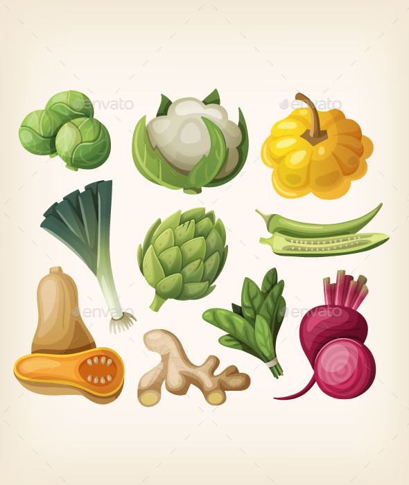 GraphicRiver Set of Exotic Vegetables 10675490