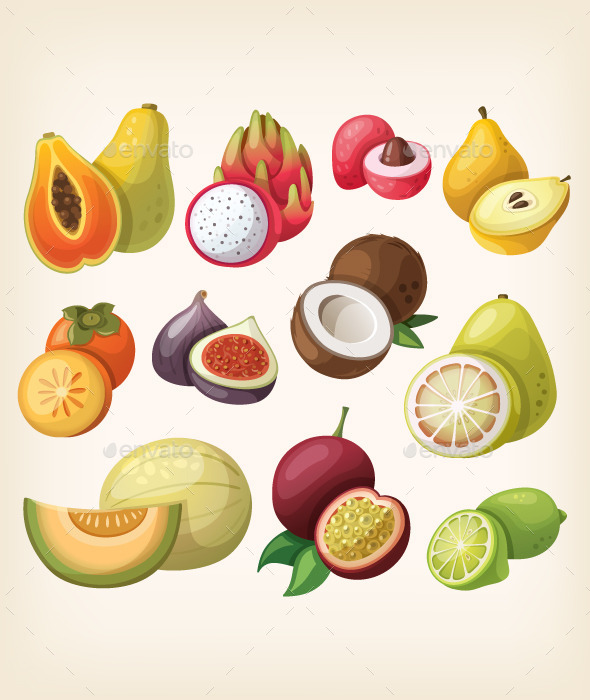 GraphicRiver Set of Exotic Fruit 10675582