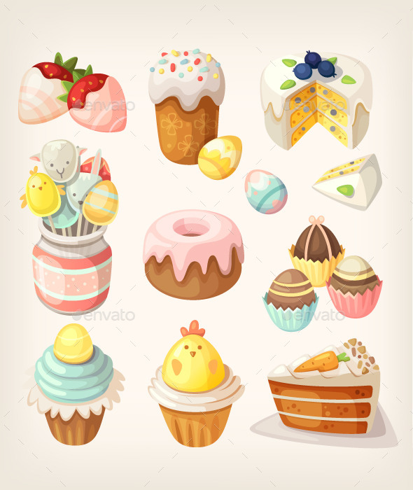 GraphicRiver Colorful Food for Easter Party 10675755