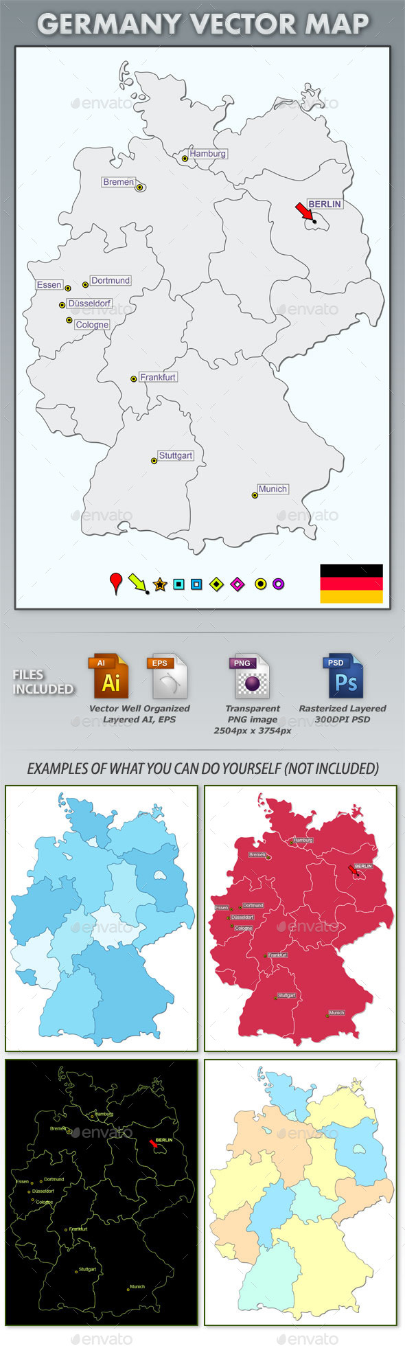 GraphicRiver Germany Layered Vector Map 10676250