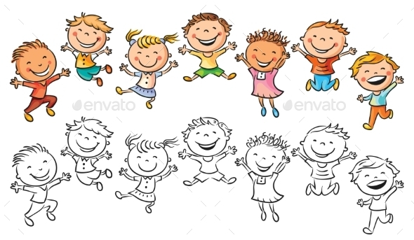GraphicRiver Happy Kids Laughing and Jumping with Joy 10677096