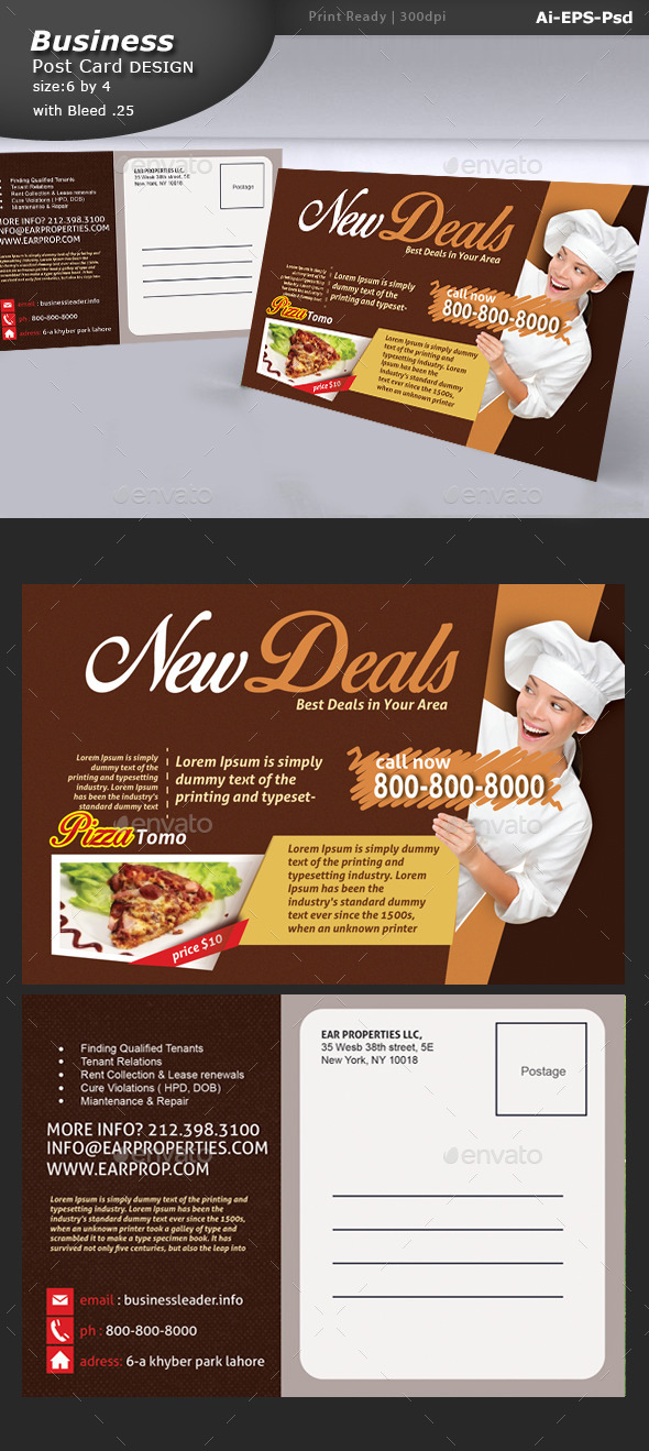 GraphicRiver Restaurant Post Card Design 10677442