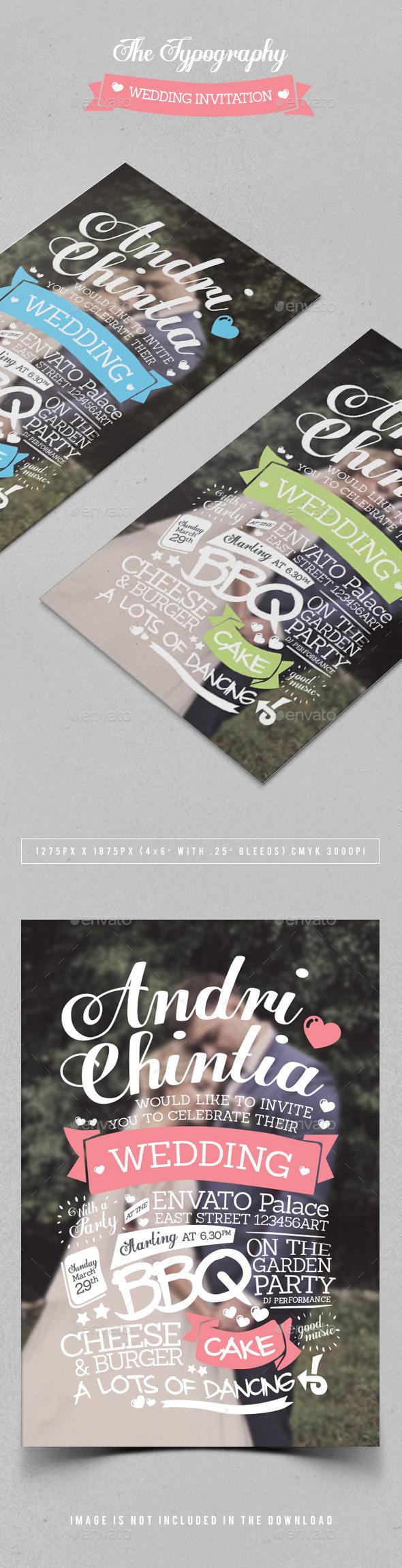 GraphicRiver The Typography Wedding Invitation 10677492