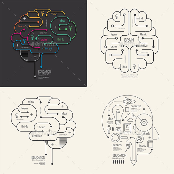 GraphicRiver Flat Line Infographic Education Brain Concept 10677878