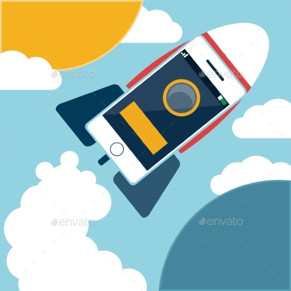 GraphicRiver Smartphone Rocket Flying in Sky 10677882